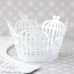 White birdcage cupcake wrappers