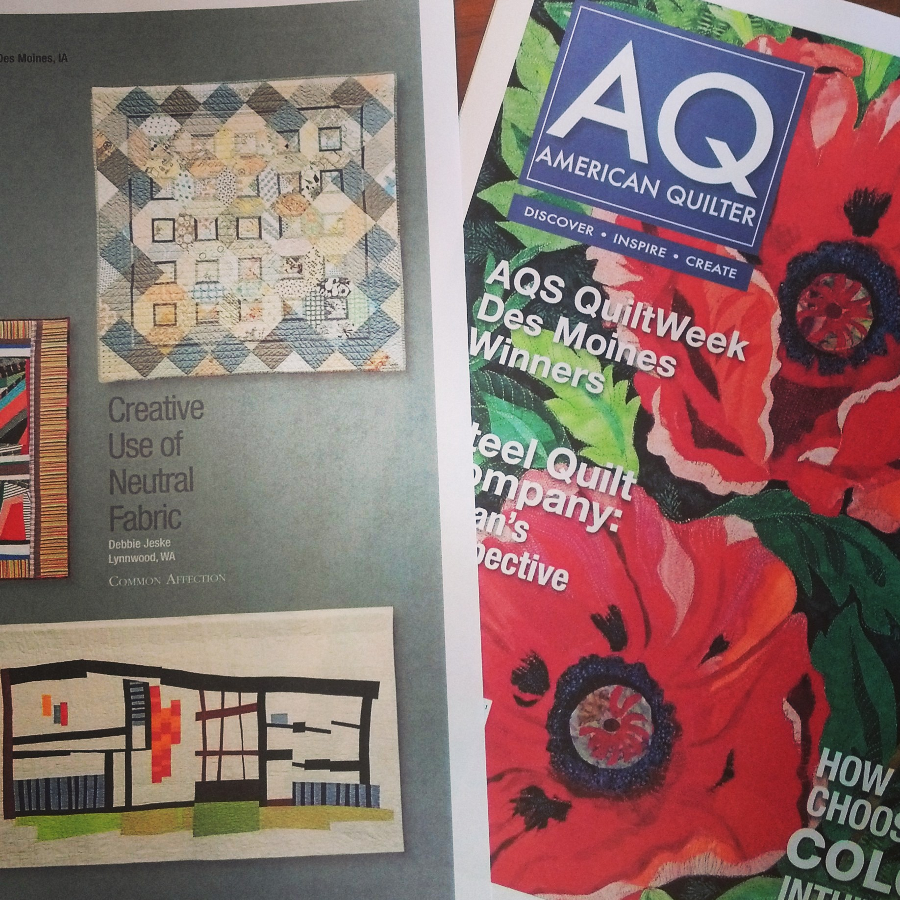 """Common Affection"" in American Quilter Magazine, January 2014 issue"