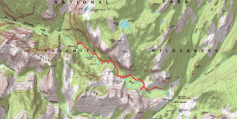 Topographic Map of our ninth day's hike - A tour of the major waterfalls in the Grand Canyon of the Tuolumne River