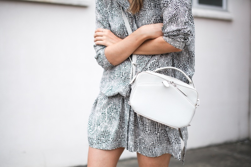 modern legacy fashion style blogger australia outfit street style willow print shirt dress white birkenstocks alexander wang rafael bag monochrome bare legs 2 (1 of 1)
