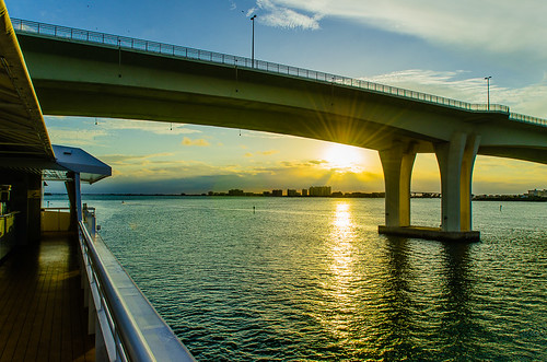 Sunset behind Clearwater Memorial Bridge from Yacht StarShip Dining Cruise at Clearwater Harbor Marina