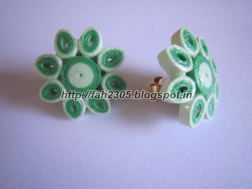 Handmade Jewelry - Paper Quilling Flower Stud Earrings (4) by fah2305