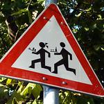 Road warning in Zemun