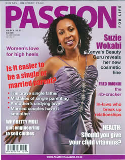 Suzie Wokabi of Kenya featured on Passion magazine. She promotes the beauty of the African woman. by Pan-African News Wire File Photos