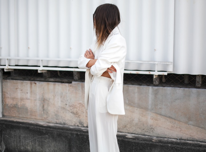 modern legacy fashion style blogger australia sass bide wide leg silk pants faddoul label top zara boyfriend blazer white birkenstocks street style (2 of 2)