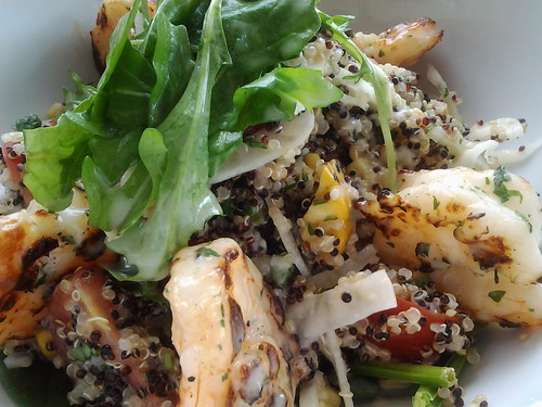 GRILLED SHRIMP WITH QUINOA AND FIRE ROASTED CORN SALAD by Aaron Brooks, Executive Chef, Executive Chef at Edge Steak & Bar at the Four Season Hotel in Miami