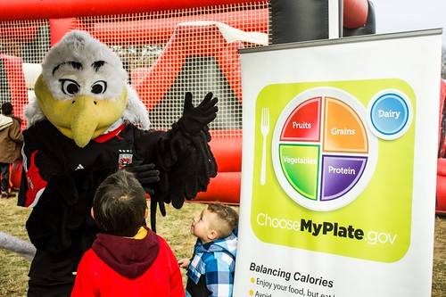 DC United Mascot Talon helped us promote MyPlate and the importance of physical activity and proper nutrition.