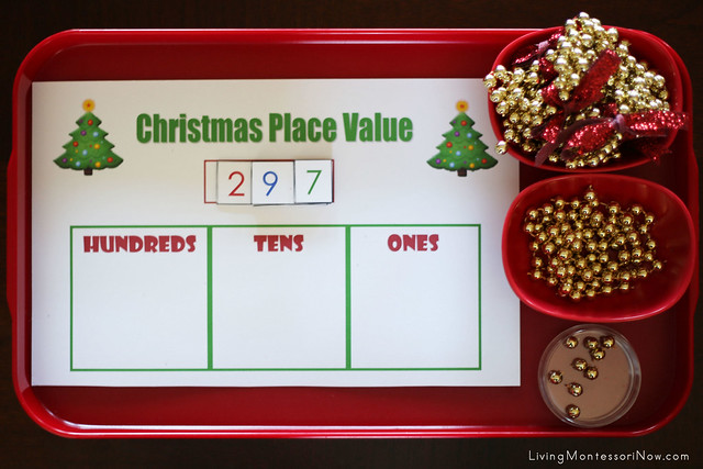 Christmas Place Value Tray