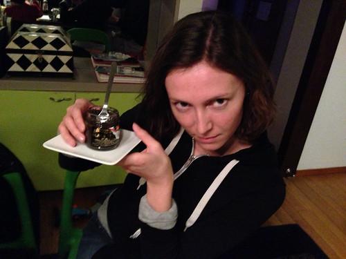 Megan hand modeling some Black Truffle Pate