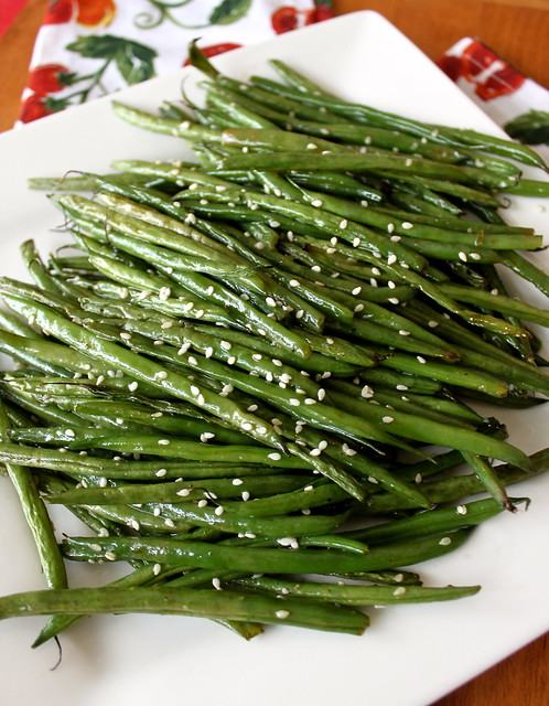 Green beans are brushed with a mixture of olive oil, sesame oil, and a ...