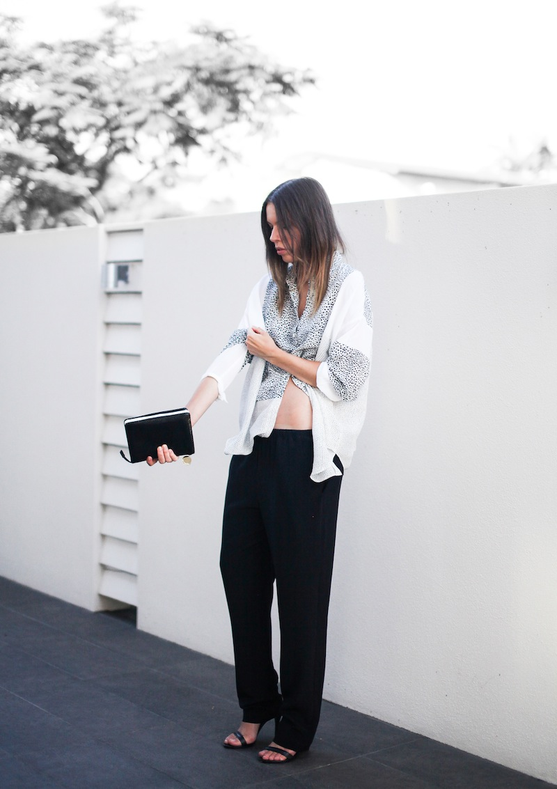 modern legacy fashion style blogger australia Life With Bird print shirt Saba pants lo slung midriff Alexander Wang Antonia heels summer street style tall (6 of 15)