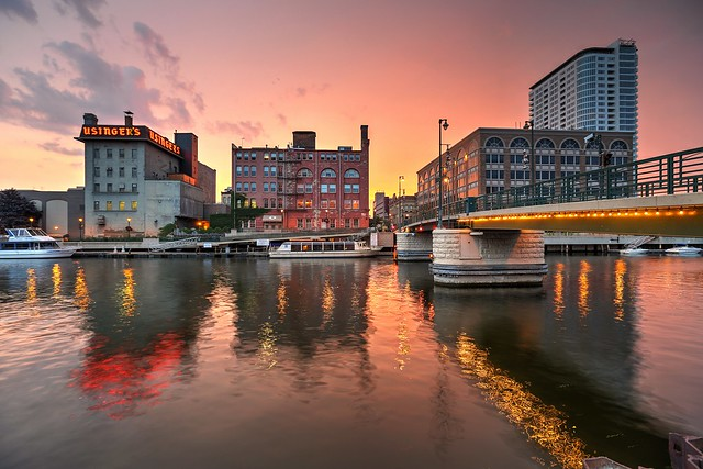 Sundown on the Milwaukee River by the Highland Avenue Pedestrian Bridge