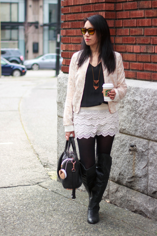 Zara rose gold floral bomber jacket, HRH Collection tank top, OASAP crochet shorts, Chinese Laundry over the knee boots, Alexander Wang rose gold Rocco bag, Oia Jules rose gold chunky chain bracelet, frends rose gold Taylor headphones, fashion, style, blogger, Vancouver, Valentine's Day, Wolf Circus necklace