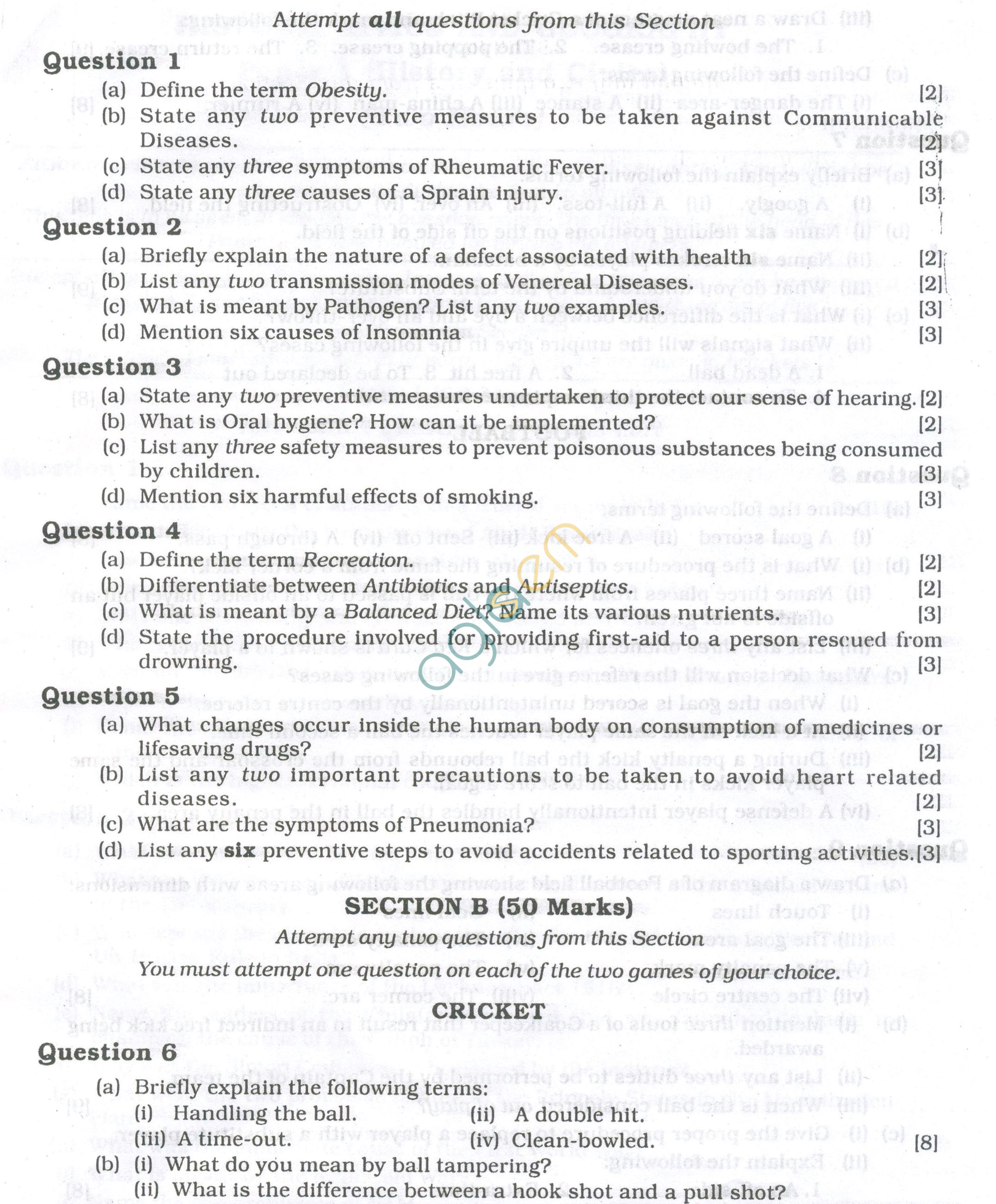 ICSE Question Papers 2013 for Class 10 - Physical Education