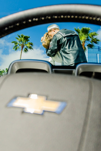 Unconditional Surrender, Sarasota Public Art  from inside the Chevy Camaro - Sharing #TampaBay via #CoxAuto