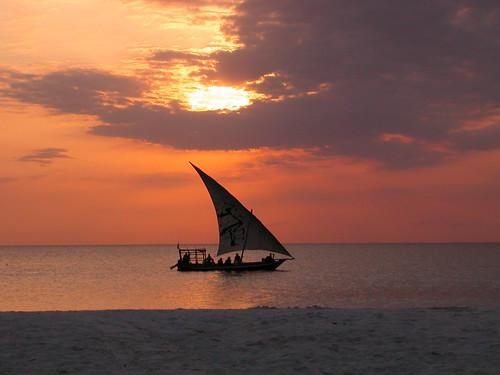 sunset sea sun beach tanzania boat zanzibar ngalawa