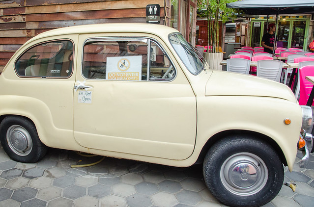 Customers are not allowed to enter the antique car at BBQ Thai: Thai Street Food