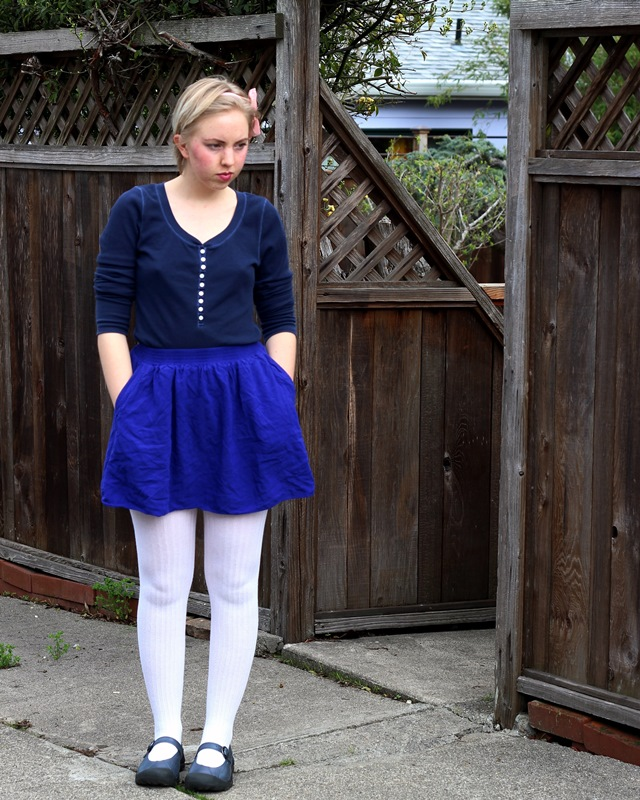 navy and cobalt blue outfit with white stockings