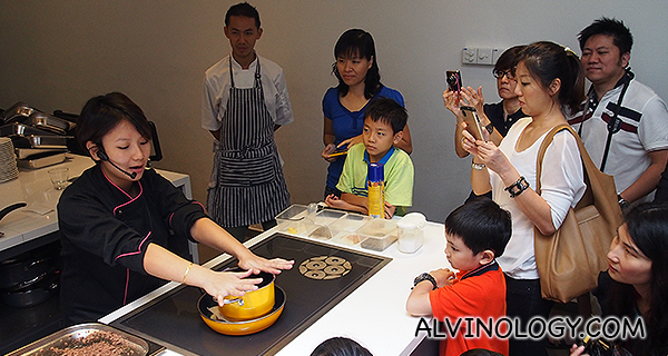 Chef Nicole doing a cooking demonstration