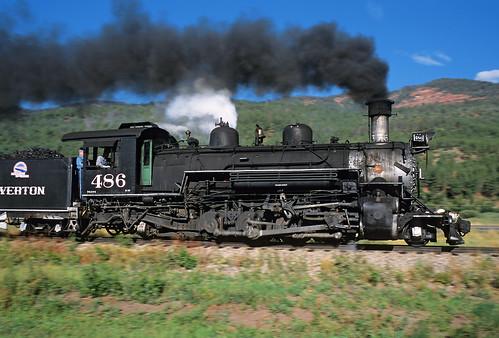 railroad train colorado smoke ds steam co durango narrowgauge steamlocomotive trimble panshot 282 dsng durangoandsilverton k36 durangoandsilvertonnarrowgaugerailroad no486 pannedphoto formerriogrande