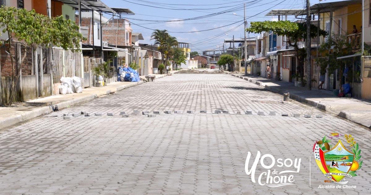 Terminan colocación de adoquines en Calle Wilfrido Viteri de Chone