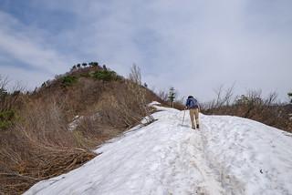 山頂へ向かって雪渓を進む