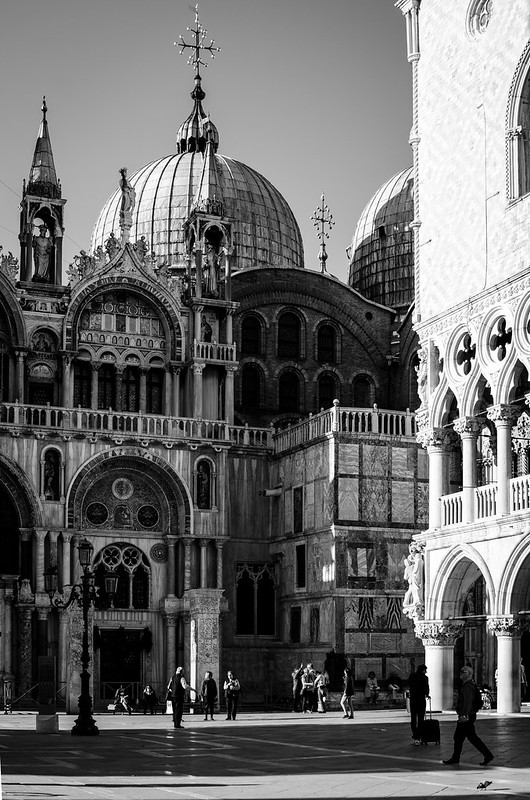 St. Mark's Basilica and Doge's Palace in black and white.