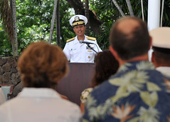 Adm. Cecil D. Haney, commander of U.S. Pacific Fleet, addresses the audience during a ceremony to commemorate the 71st anniversary of the Battle of Midway held at U.S. Pacific Fleet headquarters, June 7. (U.S. Navy Photo by Mass Communication Specialist 2nd Class David Kolmel)