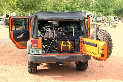 camping gear in rear