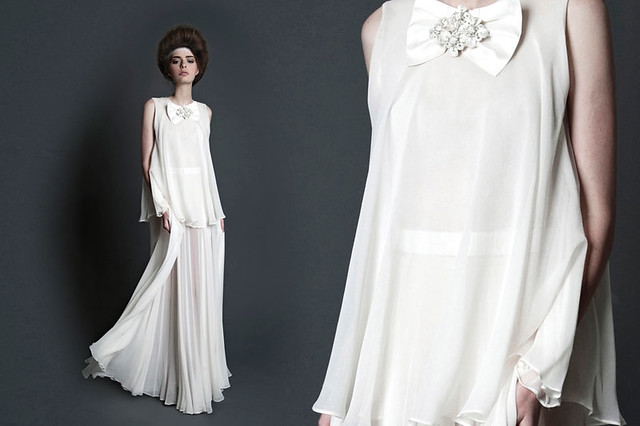GeorgeWu2013-layersofwhite-1 Tiered ink dress Galagy cluster bow brooch