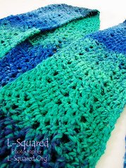 Close-up of a teal section of the wavy stitch pattern.