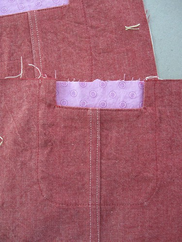 Red denim jacket pocket 1