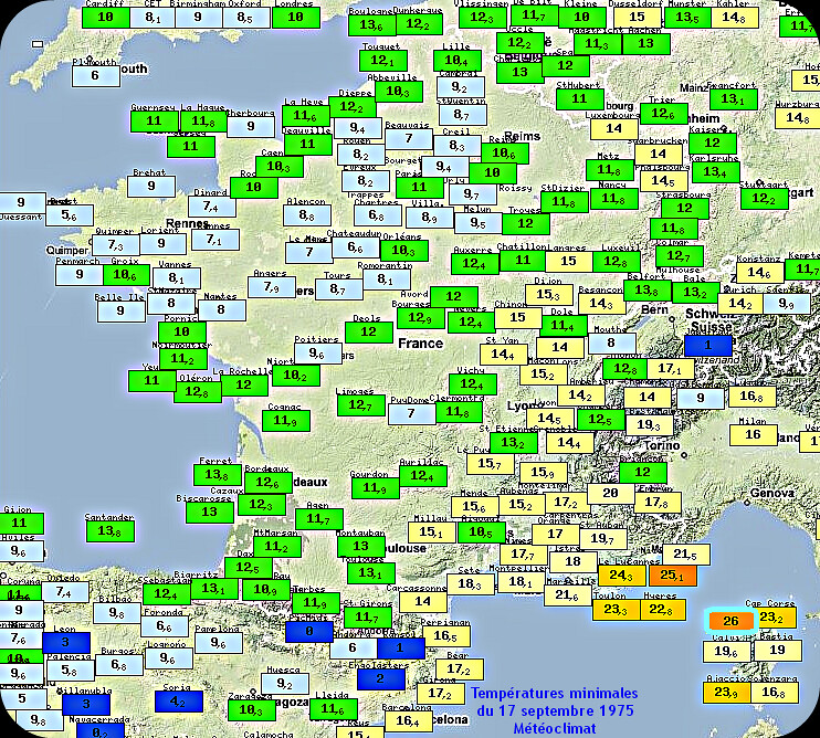 températures minimales et record mensuel absolu de douceur du 17 septembre 1975 météopassion