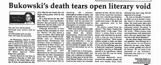 Bukowski's Obituary