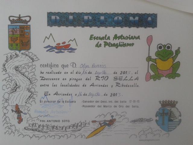 Diploma del descenso del Sella