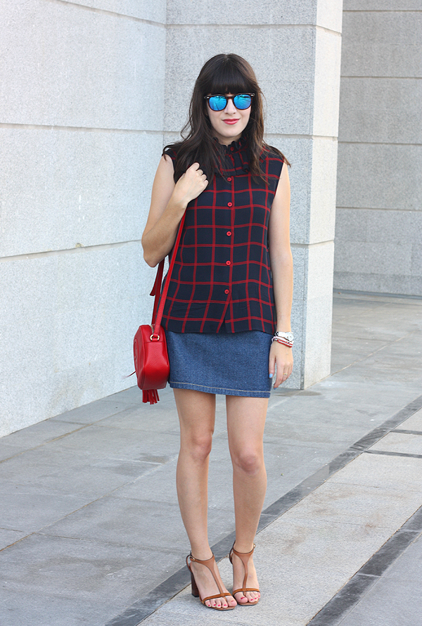 spektre sunglasses, gucci disco bag, kenzo blouse, check blouse, celine shoes, גוצ'י, קנזו, סלין, בלוג אופנה