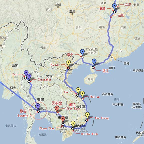 五国行路线图-到曼谷