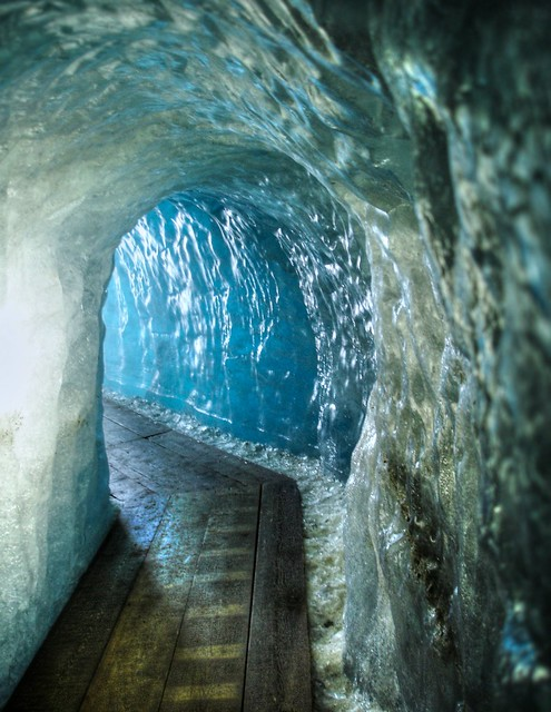 The glacier is blue