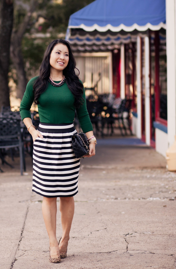 emerald green top, black white striped skirt, leopard pumps, chanel flap purse outfit #ootd | petite fashion
