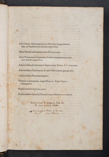 Ownership inscription in Firmicus Maternus, Julius: Mathesis (De nativitatibus libri VIII)   ' 'Bh_3_10'