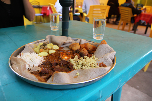 My first Ethiopian meal in Ethiopia