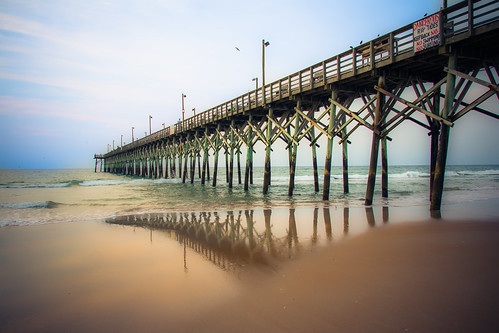 ocean sea beach sunrise canon reflections pier nc sand surf waves waterfront northcarolina coastal atlanticocean topsail