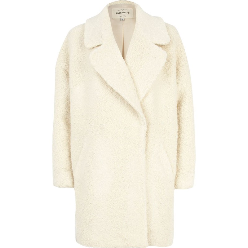 river island cream boucle coat