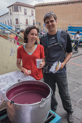 Colada morada and guaguas de pan from a street vendor | Day of the Dead in Ecuador