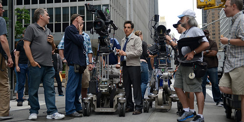 ben stiller on the set of secret life of walter mitty