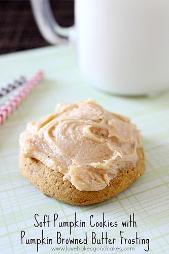 Soft Pumpkin Cookies with Pumpkin Browned Butter Frosting