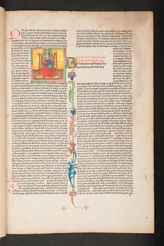Illuminated historiated initial in Bonifacius VIII, Pont. Max.: Liber sextus Decretalium