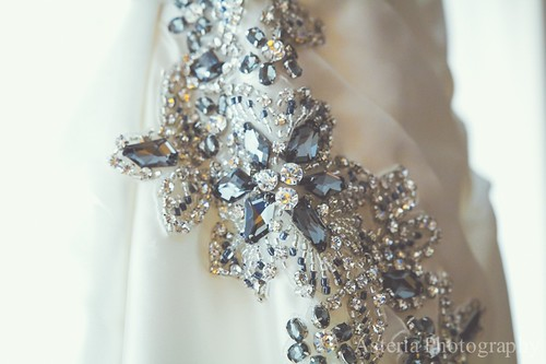 Wedding dress hip beading detail