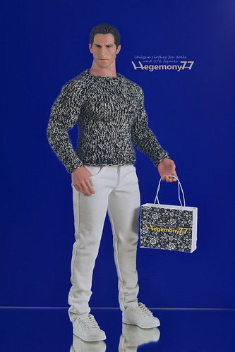1/ 6 scale Hot Toys TTM 20 advanced muscular action figure in hand knit sweater and white slim jeans pants