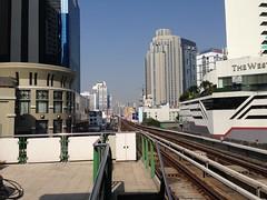 BTS Skytrain tracks seen from Asok station, Bangkok, Thailand